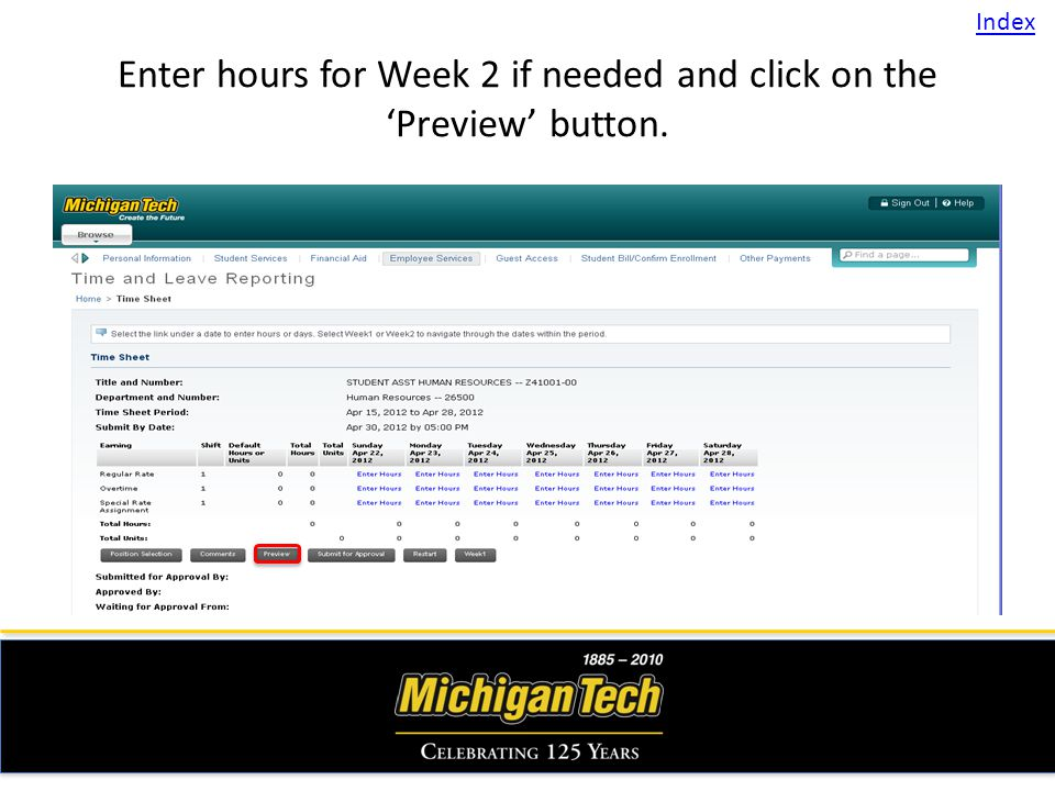 Enter hours for Week 2 if needed and click on the Preview button. Index