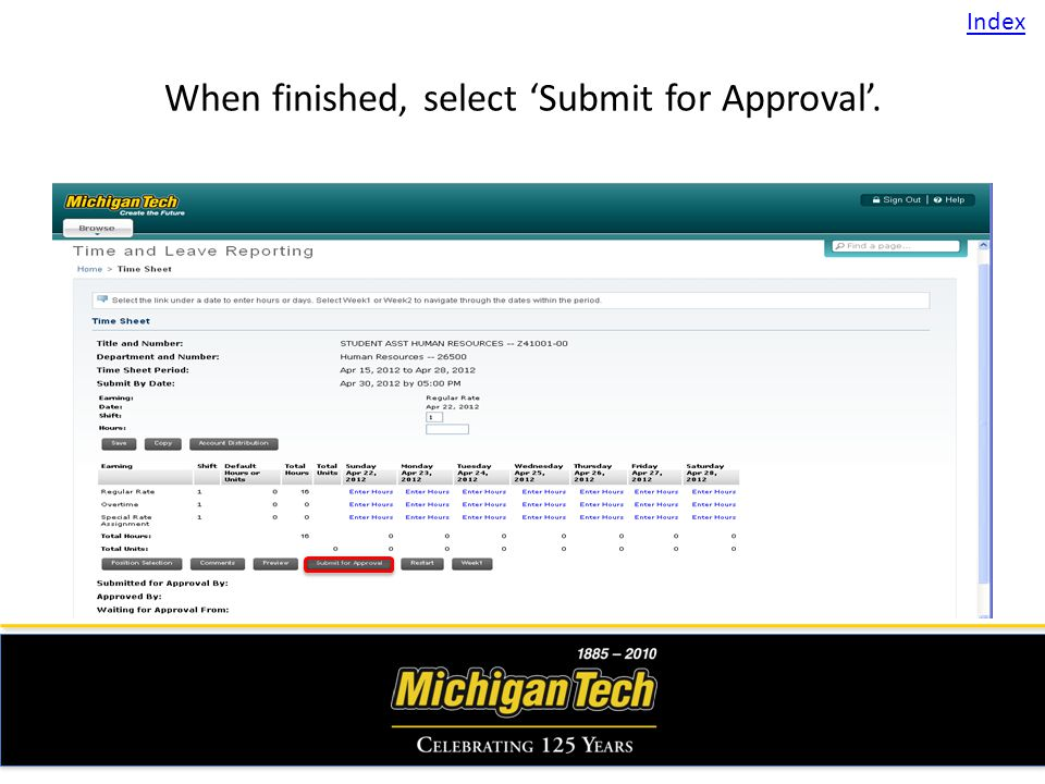 When finished, select Submit for Approval. Index