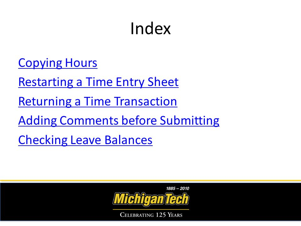 Index Copying Hours Restarting a Time Entry Sheet Returning a Time Transaction Adding Comments before Submitting Checking Leave Balances