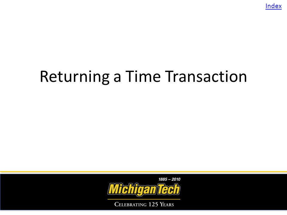Returning a Time Transaction Index