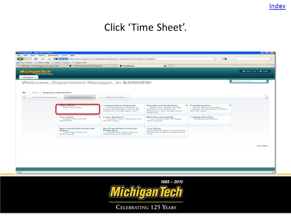 Click Time Sheet. Index