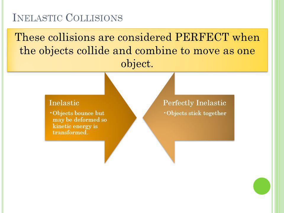 I NELASTIC C OLLISIONS These collisions are considered PERFECT when the objects collide and combine to move as one object. Inelastic Objects bounce bu