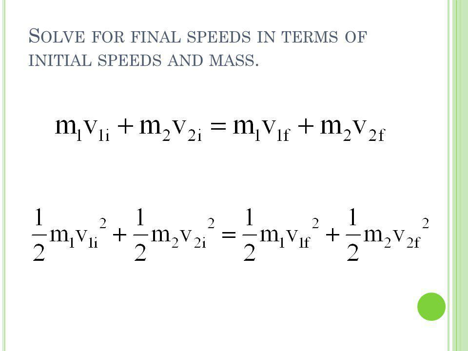 S OLVE FOR FINAL SPEEDS IN TERMS OF INITIAL SPEEDS AND MASS.