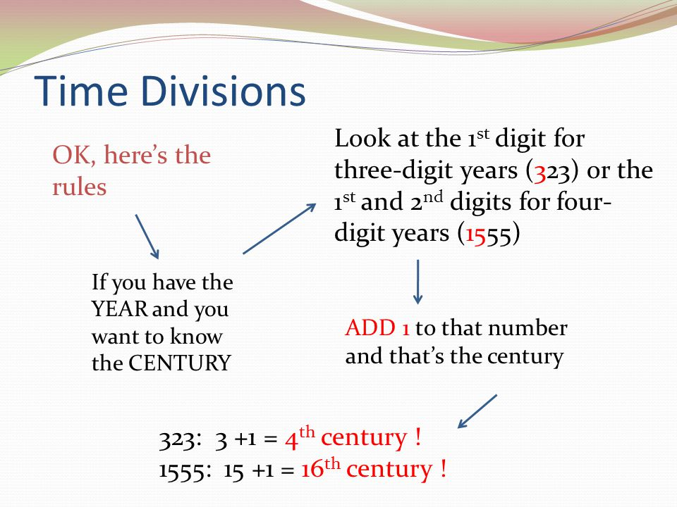 Time Divisions OK, heres the rules If you have the YEAR and you want to know the CENTURY Look at the 1 st digit for three-digit years (323) or the 1 s