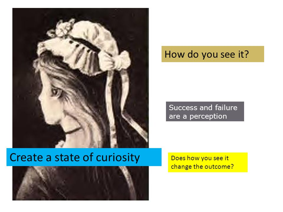How do you see it? Success and failure are a perception Does how you see it change the outcome? Create a state of curiosity