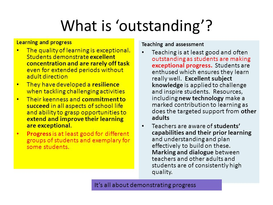 What is outstanding? Learning and progress The quality of learning is exceptional. Students demonstrate excellent concentration and are rarely off tas