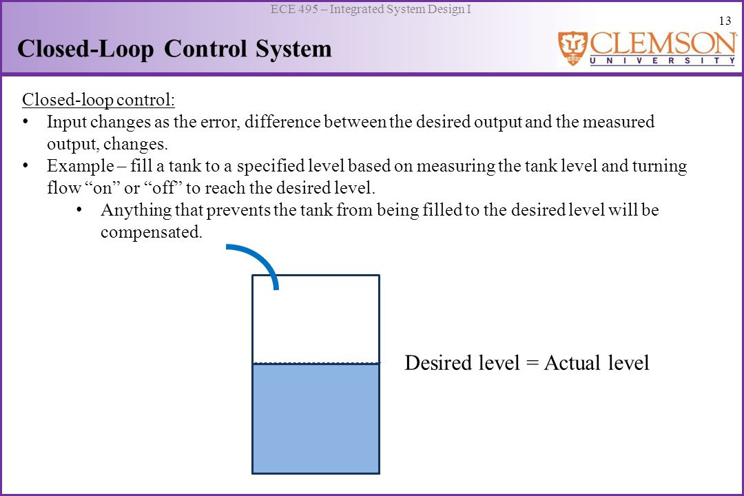 13 ECE 495 – Integrated System Design I Closed-Loop Control System Closed-loop control: Input changes as the error, difference between the desired out
