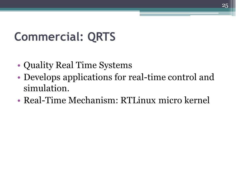 Commercial: QRTS Quality Real Time Systems Develops applications for real-time control and simulation.