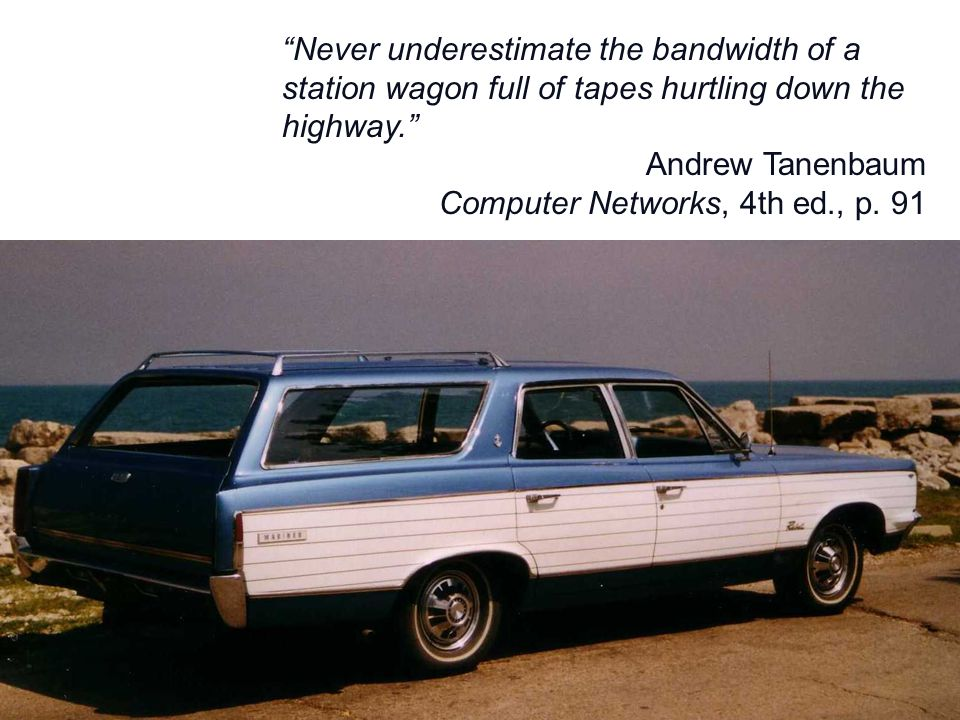 Never underestimate the bandwidth of a station wagon full of tapes hurtling down the highway. Andrew Tanenbaum Computer Networks, 4th ed., p. 91