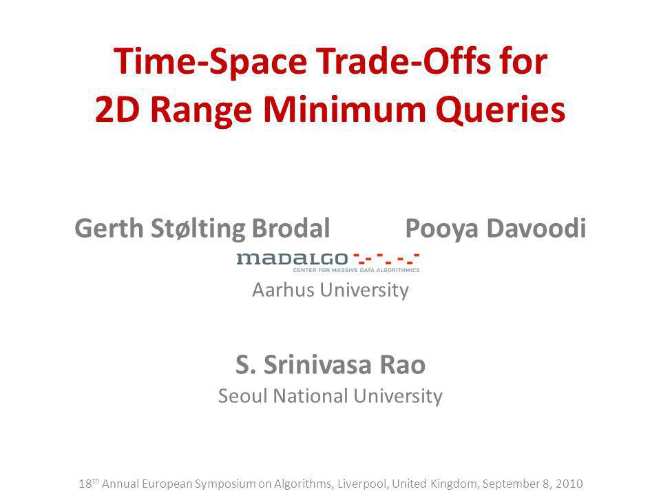 Time-Space Trade-Offs for 2D Range Minimum Queries Gerth Stølting BrodalPooya Davoodi Aarhus University S. Srinivasa Rao Seoul National University 18