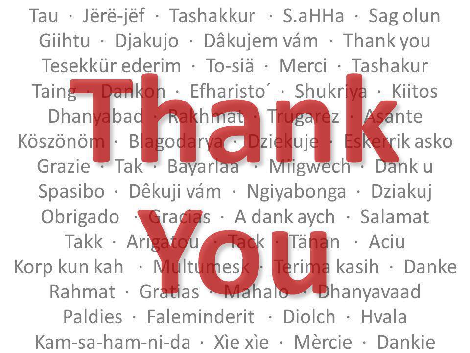 Tau Jërë-jëf Tashakkur S.aHHa Sag olun Giihtu Djakujo Dâkujem vám Thank you Tesekkür ederim To-siä Merci Tashakur Taing Dankon Efharisto´ Shukriya Kiitos Dhanyabad Rakhmat Trugarez Asante Köszönöm Blagodarya Dziekuje Eskerrik asko Grazie Tak Bayarlaa Miigwech Dank u Spasibo Dêkuji vám Ngiyabonga Dziakuj Obrigado Gracias A dank aych Salamat Takk Arigatou Tack Tänan Aciu Korp kun kah Multumesk Terima kasih Danke Rahmat Gratias Mahalo Dhanyavaad Paldies Faleminderit Diolch Hvala Kam-sa-ham-ni-da Xìe xìe Mèrcie Dankie Thank You