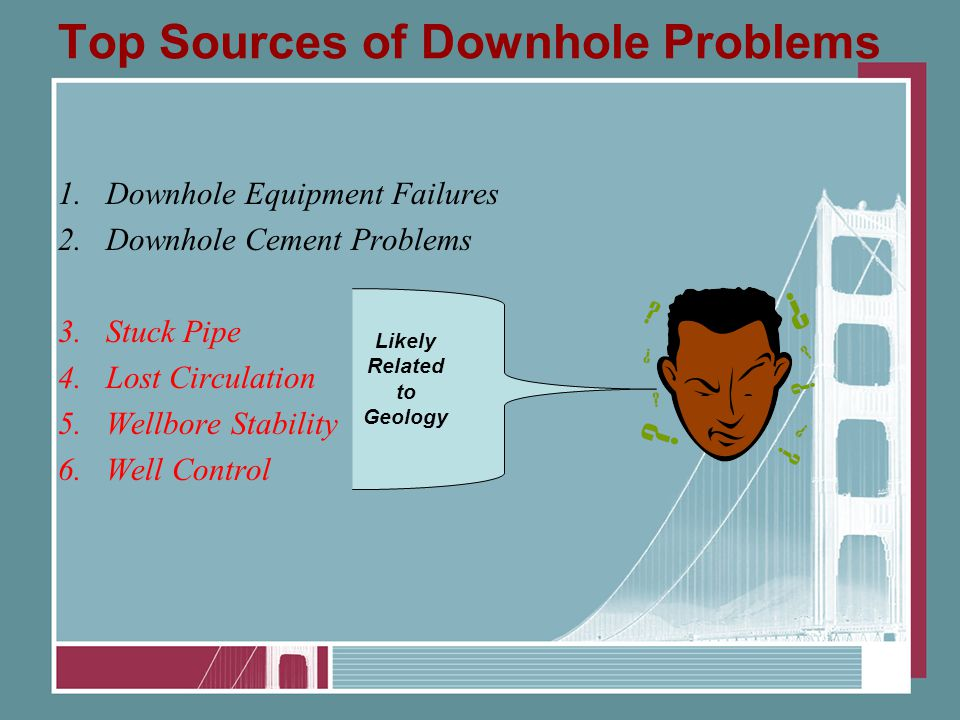 Top Sources of Downhole Problems 1.Downhole Equipment Failures 2.Downhole Cement Problems 3.Stuck Pipe 4.Lost Circulation 5.Wellbore Stability 6.Well