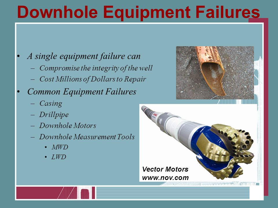 Downhole Equipment Failures A single equipment failure can –Compromise the integrity of the well –Cost Millions of Dollars to Repair Common Equipment