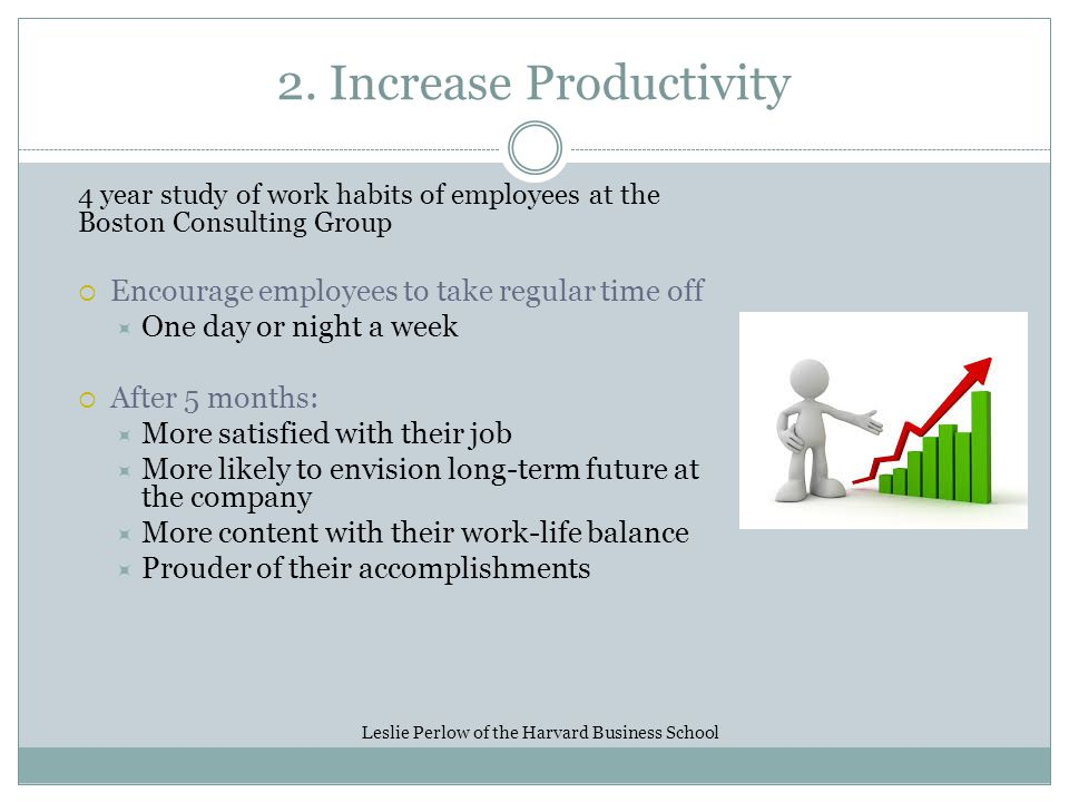 2. Increase Productivity 4 year study of work habits of employees at the Boston Consulting Group Encourage employees to take regular time off One day