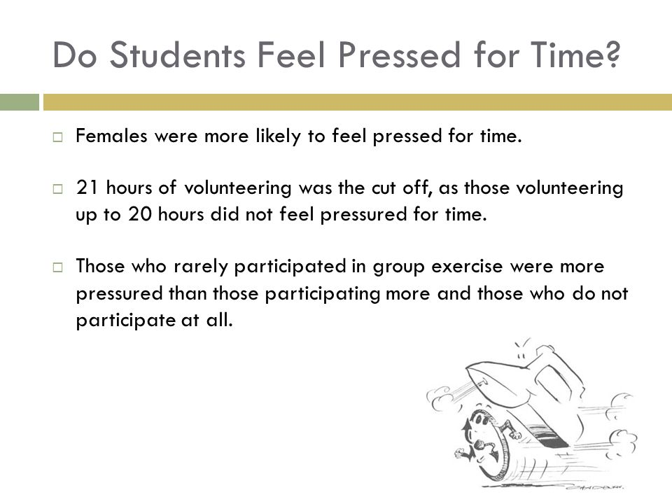 Do Students Feel Pressed for Time. Females were more likely to feel pressed for time.
