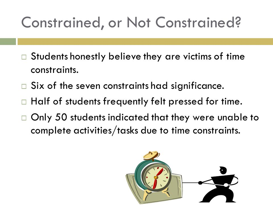 Constrained, or Not Constrained. Students honestly believe they are victims of time constraints.