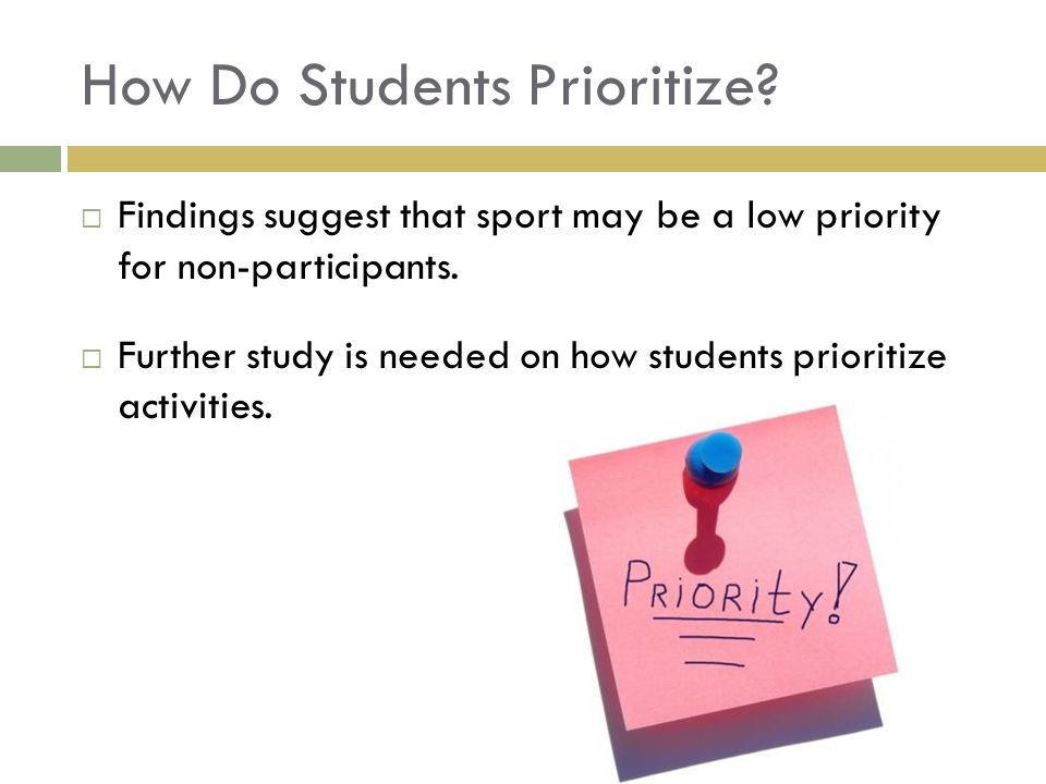 How Do Students Prioritize. Findings suggest that sport may be a low priority for non-participants.