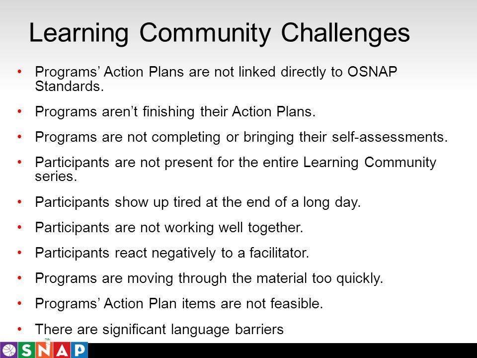 Learning Community Challenges Programs Action Plans are not linked directly to OSNAP Standards. Programs arent finishing their Action Plans. Programs