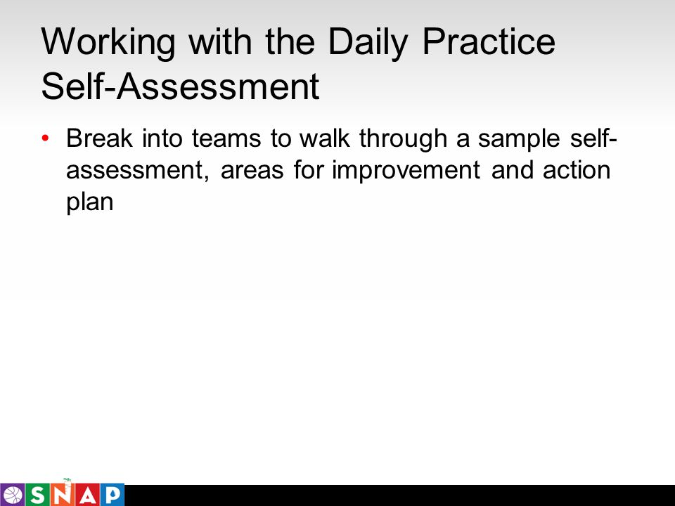 Working with the Daily Practice Self-Assessment Break into teams to walk through a sample self- assessment, areas for improvement and action plan