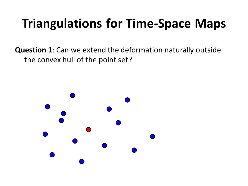 Triangulations for Time-Space Maps Question 1: Can we extend the deformation naturally outside the convex hull of the point set.