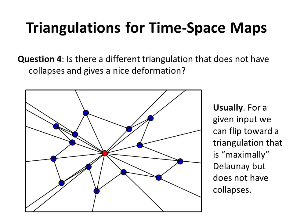 Triangulations for Time-Space Maps Question 4: Is there a different triangulation that does not have collapses and gives a nice deformation.