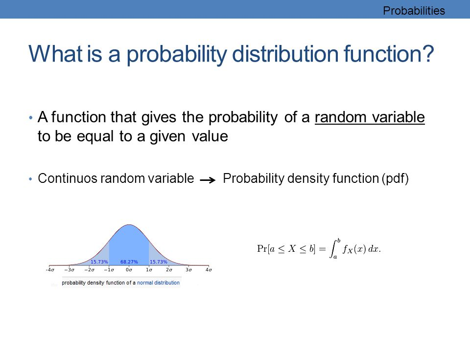What is a probability distribution function? A function that gives the probability of a random variable to be equal to a given value Continuos random