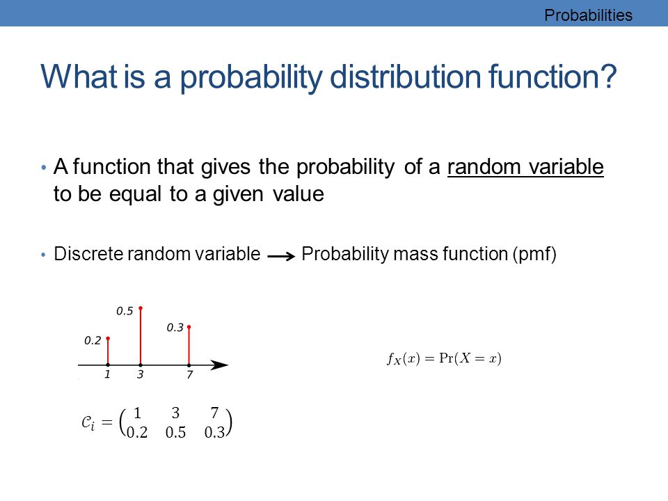 What is a probability distribution function? A function that gives the probability of a random variable to be equal to a given value Discrete random v