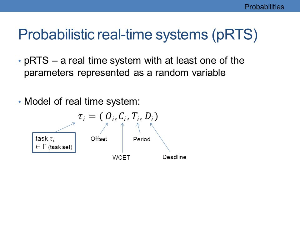 Probabilistic real-time systems (pRTS) Probabilities Offset WCET Period Deadline
