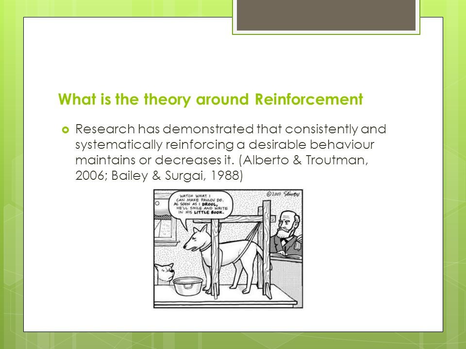 What is the theory around Reinforcement Research has demonstrated that consistently and systematically reinforcing a desirable behaviour maintains or decreases it.