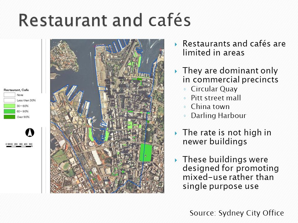 Restaurants and cafés are limited in areas They are dominant only in commercial precincts Circular Quay Pitt street mall China town Darling Harbour Th
