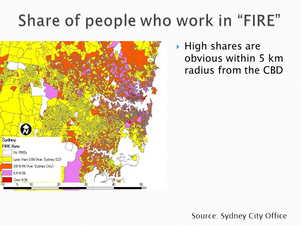 High shares are obvious within 5 km radius from the CBD Source: Sydney City Office