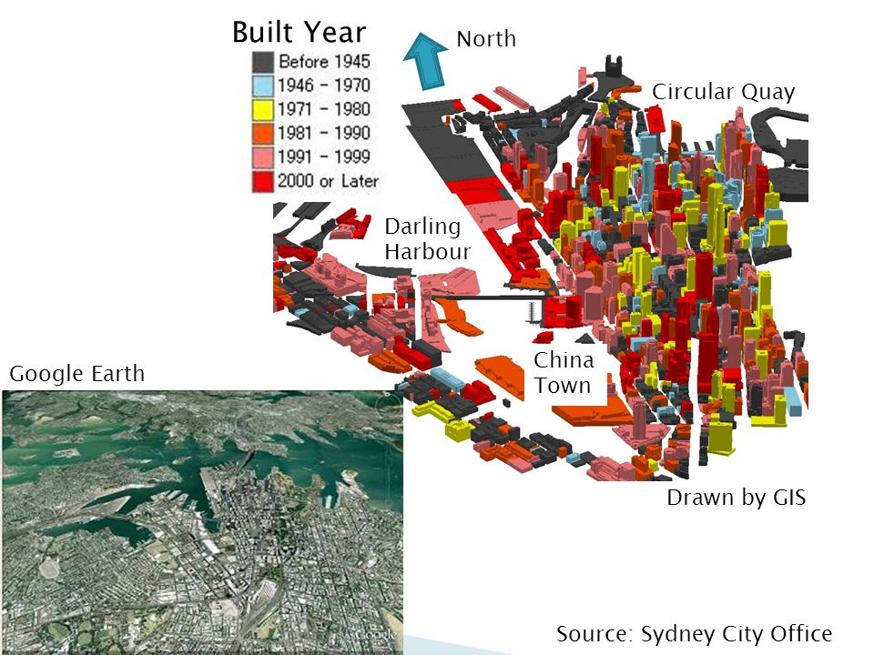 Source: Sydney City Office Circular Quay Darling Harbour China Town North Built Year Google Earth Drawn by GIS
