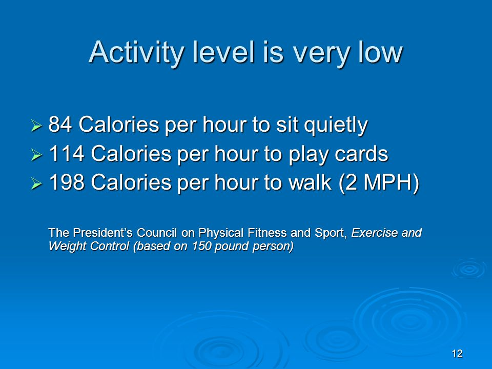 12 Activity level is very low 84 Calories per hour to sit quietly 84 Calories per hour to sit quietly 114 Calories per hour to play cards 114 Calories