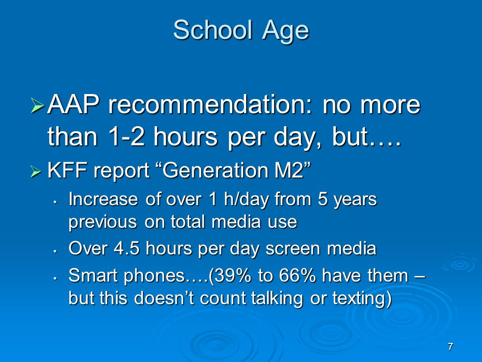 7 School Age AAP recommendation: no more than 1-2 hours per day, but…. AAP recommendation: no more than 1-2 hours per day, but…. KFF report Generation