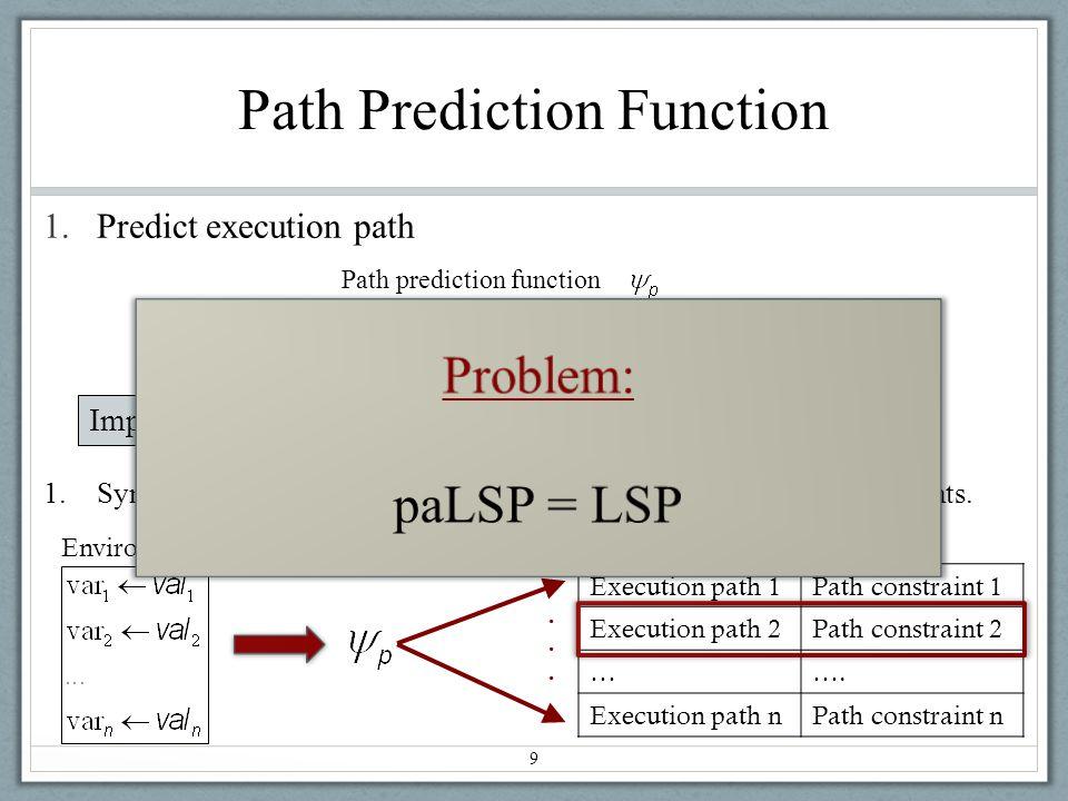Path Prediction Function 1.Predict execution path 9 Path prediction function Implement path prediction function using symbolic execution Execution path 1Path constraint 1 Execution path 2Path constraint 2 …….