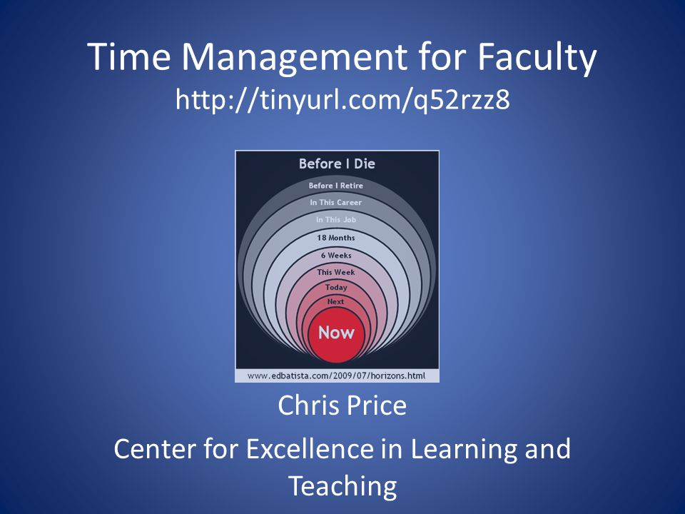 Time Management for Faculty http://tinyurl.com/q52rzz8 Chris Price Center for Excellence in Learning and Teaching