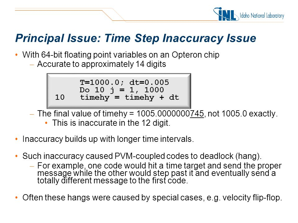 Principal Issue: Time Step Inaccuracy Issue With 64-bit floating point variables on an Opteron chip – Accurate to approximately 14 digits – The final value of timehy = 1005.0000000745, not 1005.0 exactly.