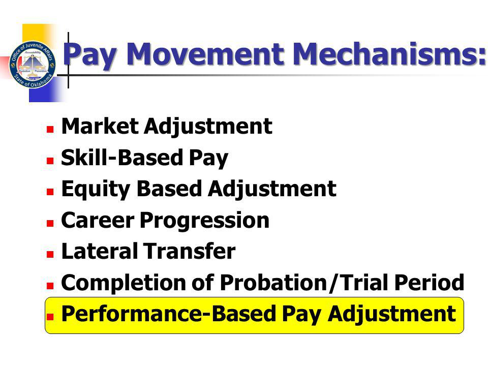 Pay Movement Mechanisms: Market Adjustment Skill-Based Pay Equity Based Adjustment Career Progression Lateral Transfer Completion of Probation/Trial P