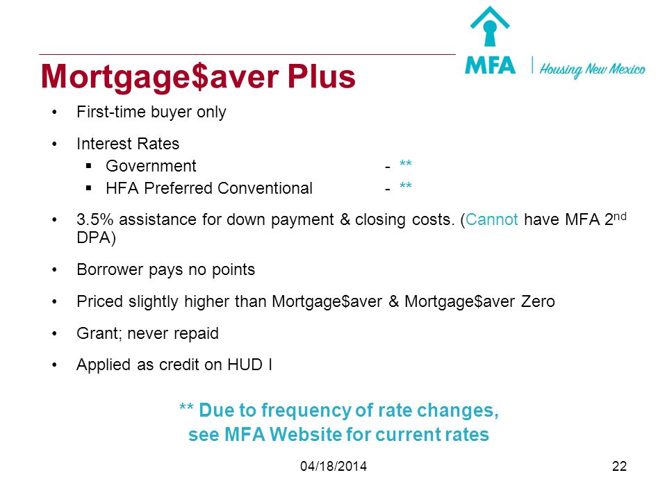 04/18/201421 Mortgage$aver Zero First-time buyer only Interest Rates Government- ** HFA Preferred Conventional- ** Borrower pays zero points 30 yr., f