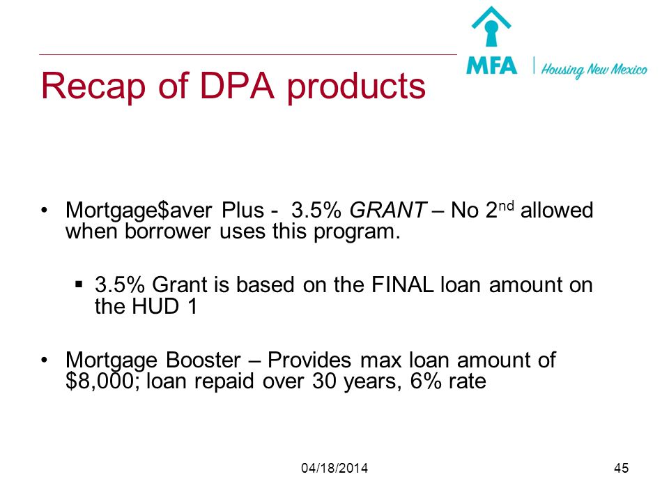 04/18/201444 Homebuyer Counseling Pre-purchase homebuyer counseling Link to the eHome America site is on the MFA Home Page Be sure borrower has chosen