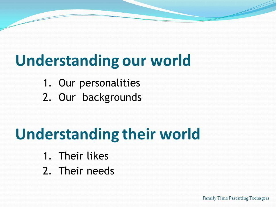 Understanding our world 1. Our personalities 2. Our backgrounds Understanding their world 1.