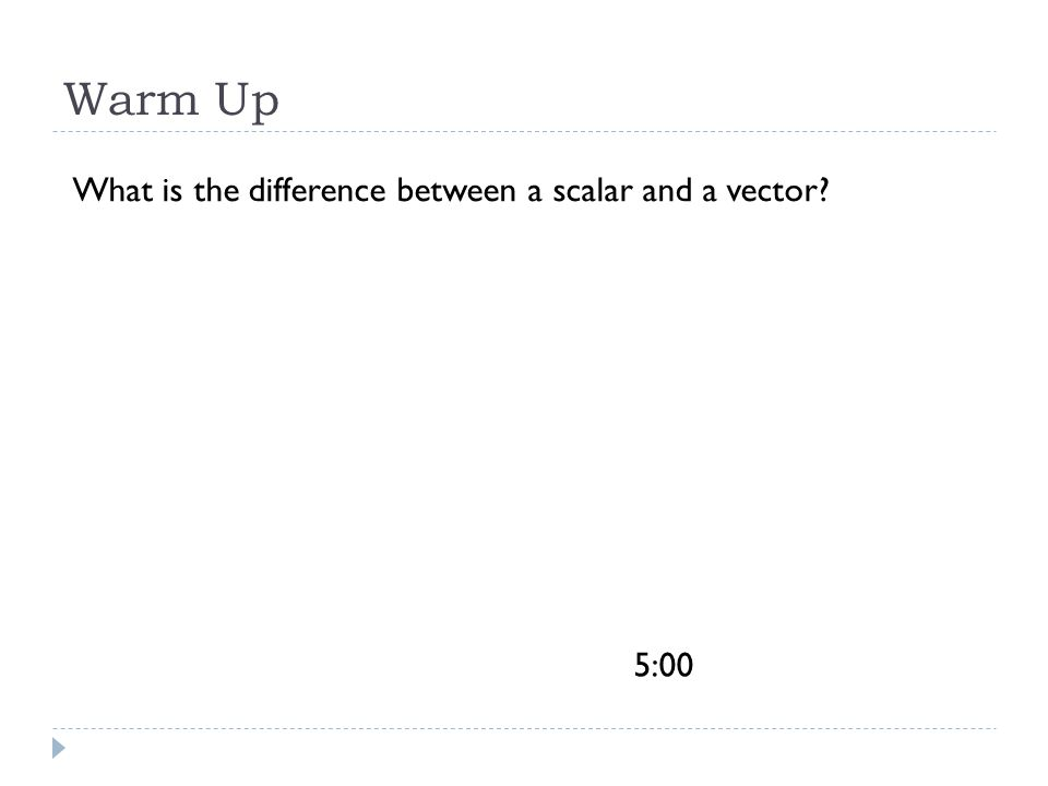 Times Up0:010:020:03 0:040:050:060:070:080:09 0:101:002:003:004:005:00 Warm Up What is the difference between a scalar and a vector