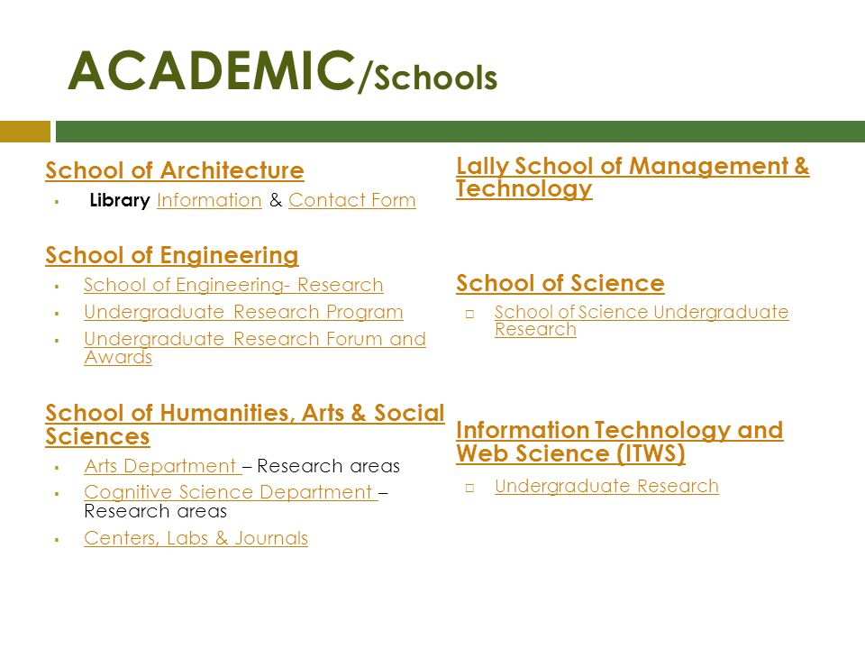 ACADEMIC / Schools School of Architecture Library Information & Contact Form InformationContact Form School of Engineering School of Engineering- Rese