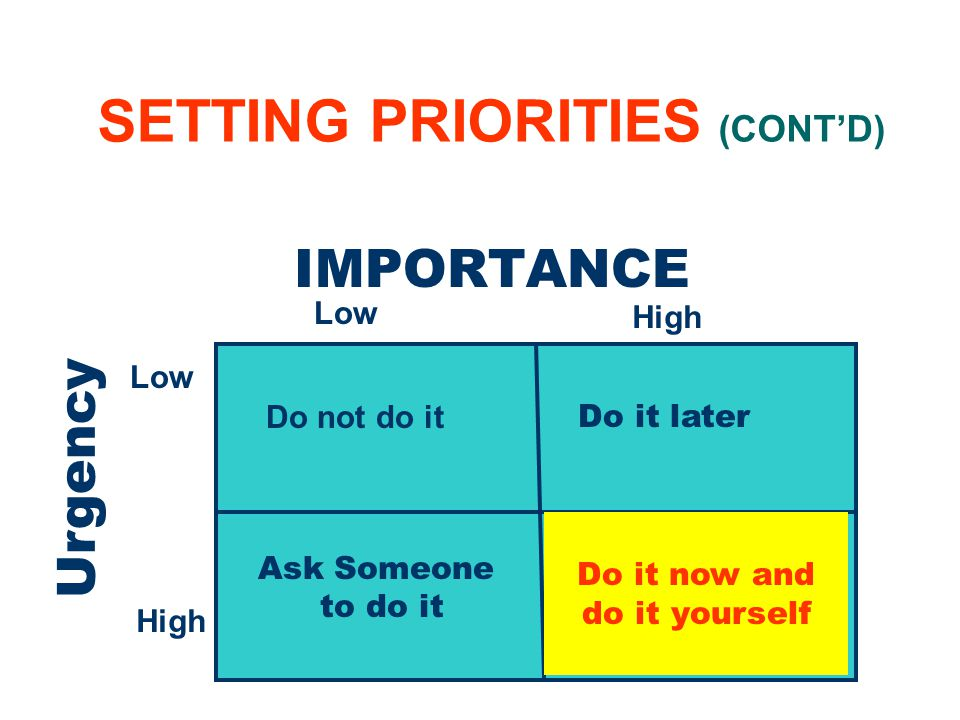 9 SETTING PRIORITIES (CONTD) IMPORTANCE Urgency Low High Low High Do not do it Ask Someone to do it Do it later Do it now and do it yourself
