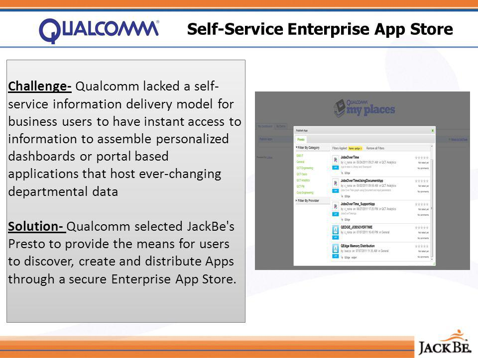 Self-Service Enterprise App Store Challenge- Qualcomm lacked a self- service information delivery model for business users to have instant access to information to assemble personalized dashboards or portal based applications that host ever-changing departmental data Solution- Qualcomm selected JackBe s Presto to provide the means for users to discover, create and distribute Apps through a secure Enterprise App Store.