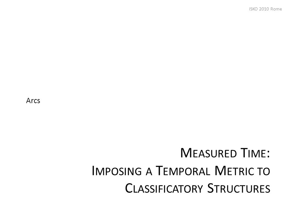 M EASURED T IME : I MPOSING A T EMPORAL M ETRIC TO C LASSIFICATORY S TRUCTURES Arcs ISKO 2010 Rome