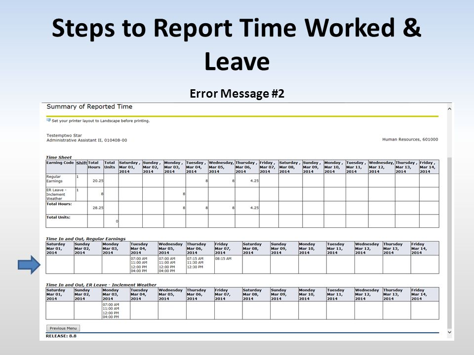 Steps to Report Time Worked & Leave Error Message #2