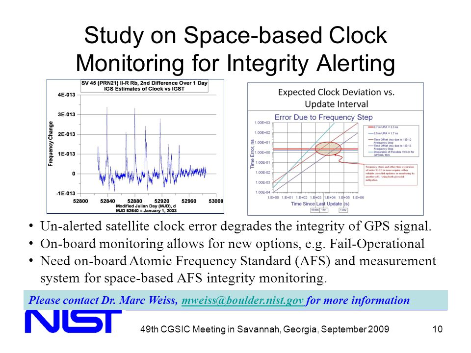49th CGSIC Meeting in Savannah, Georgia, September 200910 Study on Space-based Clock Monitoring for Integrity Alerting Please contact Dr.