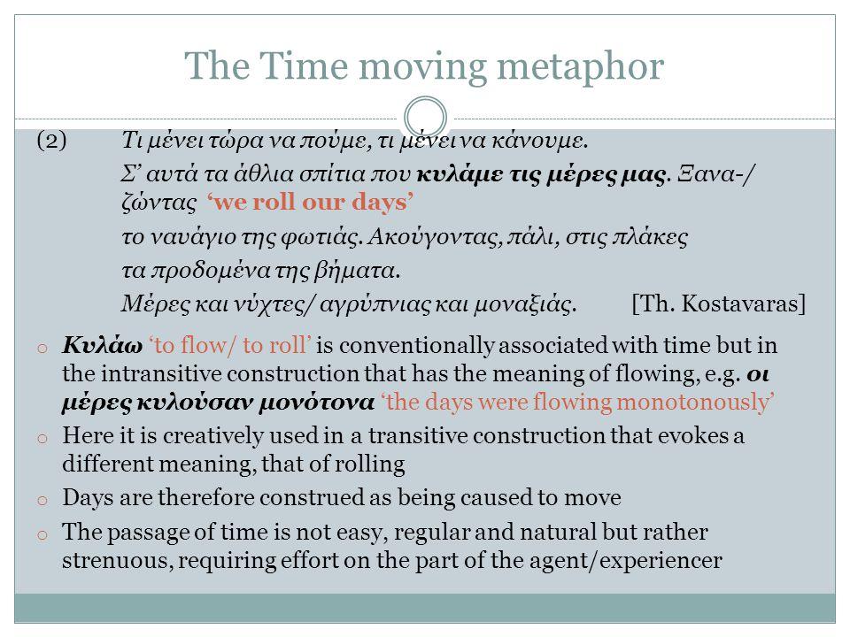 The Time moving metaphor (2)Τι μένει τώρα να πούμε, τι μένει να κάνουμε.