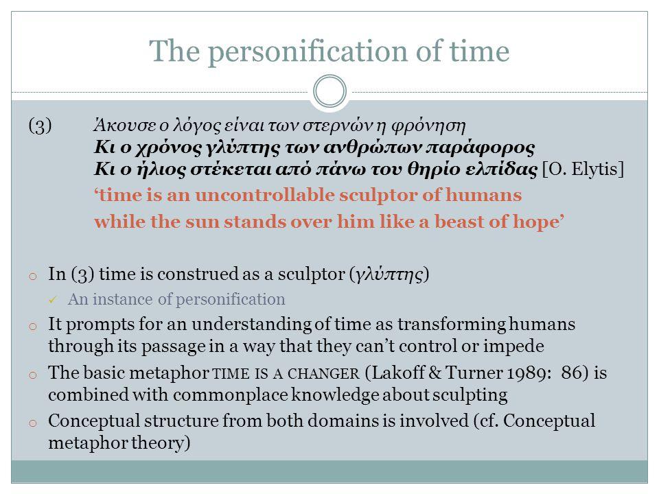 The personification of time (3)Άκουσε ο λόγος είναι των στερνών η φρόνηση Κι ο χρόνος γλύπτης των ανθρώπων παράφορος Κι ο ήλιος στέκεται από πάνω του θηρίο ελπίδας [O.